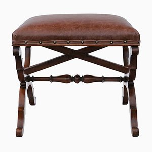 Antique Victorian Walnut Leather Stool Seat Foot