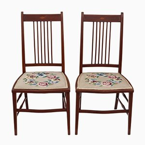 Antique Edwardian Needlepoint Mahogany Chairs, Set of 2