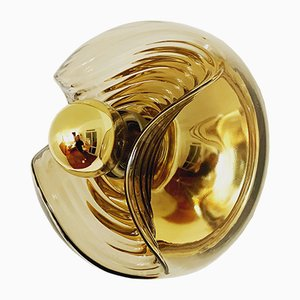 Smoked Glass Wave Sconce by Koch & Lowy for Peill & Putzler, 1960s