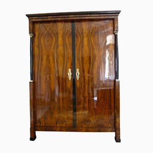 Empire Walnut Veneer and Brass Armoire, 1810s