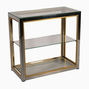 Italian Chromed Metal, Brass & Glass Shelving Unit, 1980s