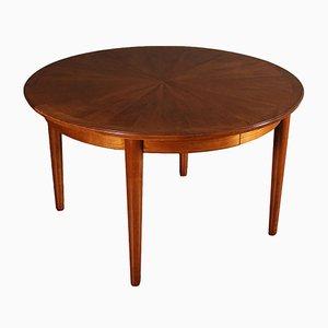 Tavolo da pranzo rotondo allungabile impiallacciato in legno di ciliegio, anni '50