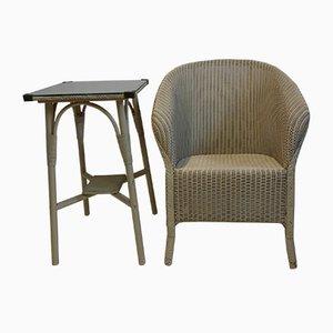 Juego de mesa auxiliar y silla de Marshall Burns Lloyd para Lloyd Loom, años 50