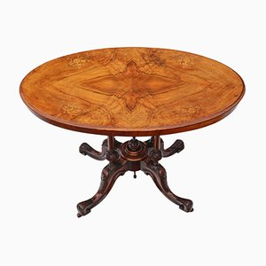 Antique Victorian Inlaid Walnut Tea Table