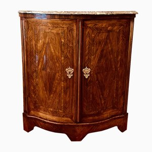 Antique Curved Marquetry Cabinet