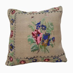 Handwoven Floral Pink Kilim Pillow Cover from Vintage Pillow Store Contemporary