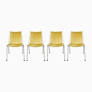 Sillas vintage amarillas, años 50. Juego de 4