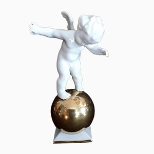 Porcelain Putto Figure on a Golden Ball by Karl Tutter for Hutschenreuther, 1930s