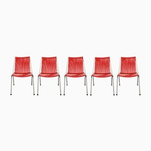Red & White Tubular Steel Chairs, 1950s, Set of 5