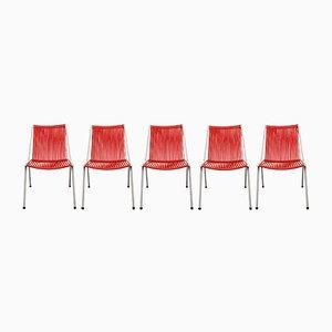 Sillas de acero tubular en rojo y blanco, años 50. Juego de 5