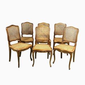 Stühle aus Schilfrohr im Louis XV-Stil, 1960er, 6er Set