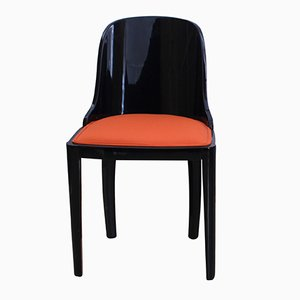 Art Deco Blackened Wood and Orange Fabric Chair, 1930s
