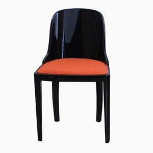 Art Deco Stuhl aus geschwärztem Holz mit orangefarbenem Bezug, 1930er