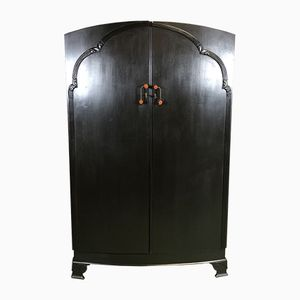 Art Deco Black Oak Wardrobe