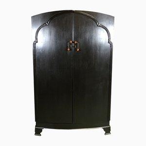Schwarzer Art Deco Kleiderschrank aus Eiche