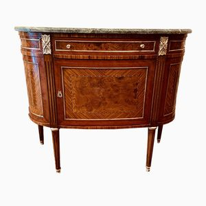Table Console Demi-Lune Vintage en Marqueterie