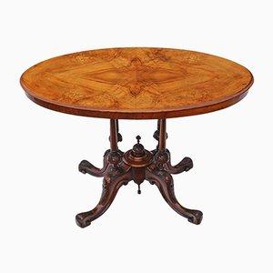 Antiker viktorianischer Teetisch aus Nussholz mit Intarsien