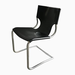 Mid-Century Modern Italian Chrome and Leather Chairs, 1970s, Set of 4