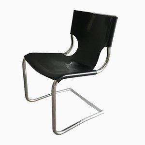 Moderne italienische Mid-Century Stühle mit Gestell aus Chrom & Sitz aus Leder, 1970er, 4er Set