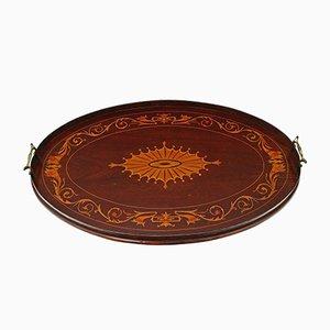 Bandeja de servicio victoriana antigua oval de caoba con incrustaciones