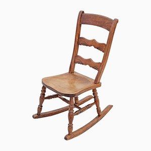 Rocking Chair Édouardien Antique en Hêtre et Orme
