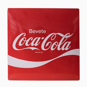 Coca Cola Enamel Sign from Smalterie Lombarde, 1960s