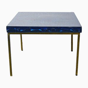 Blue Fractal Resin Coffee Table by Marie Claude de Fouquieres, 1960s