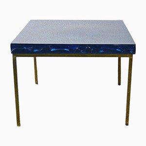 Mesa de centro de resina fractal azul de Marie Claude de Fouquieres, años 60
