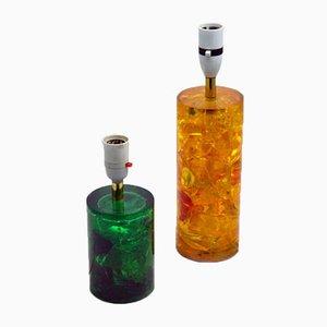 Bases de lámpara de mesa de resina fractal de Marie Claude de Fouquieres, años 60. Juego de 2