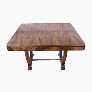Ausziehbarer Art Deco Tisch aus Nussholzfurnier, 1930er