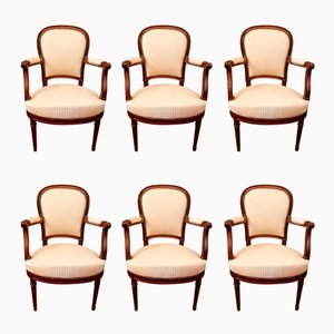 Antique Louis XVI Armchairs, Set of 6