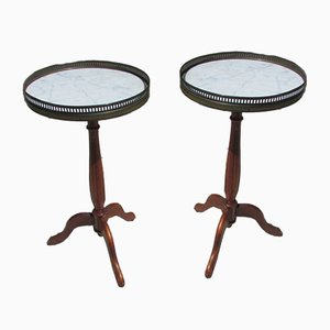 Napoleon III Style Mahogany, Marble & Brass Pedestal Tables, 1940s, Set of 2