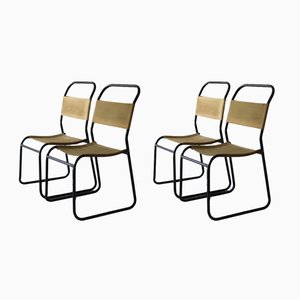 Metal Frame & Canvas Stacking Chairs, 1950s, Set of 4