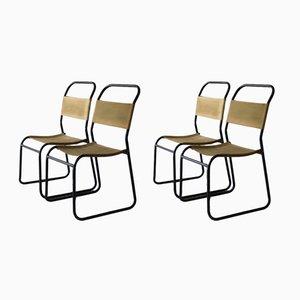 Sedie impilabili in metallo e tessuto, set di 4, anni '50