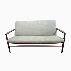 Danish Teak & Green Fabric Love Seat, 1960s