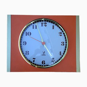 Vintage Orange Formica and Brass Wall Clock from Jaz, 1970s