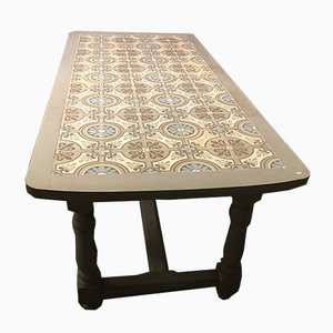 Farmhouse Table with Tiled Top, 1920s