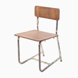 Sedia da scuola vintage in compensato e acciaio, anni '70