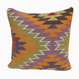Funda de cojín bohemia multicolor tejida a mano de Vintage Pillow Store Contemporary