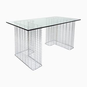 Schreibtisch aus Stahl und Glas von Habitat, 1980er