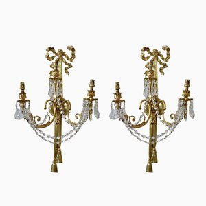 Large Vintage French Rococo Wall Lights, Set of 2