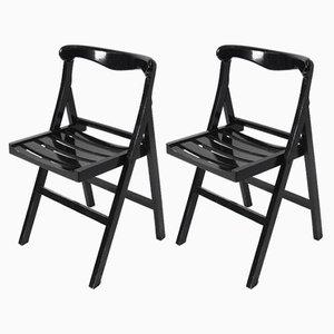 Chaises Pliantes Noires Vintage, 1970s, Set de 2