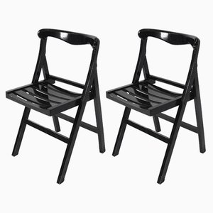 Vintage Black Folding Chairs, 1970s, Set of 2