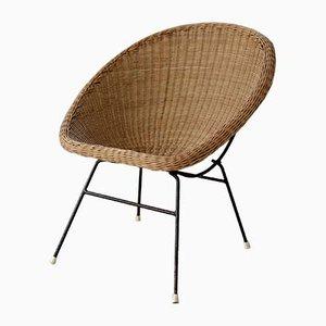 Chaise Mid-Century Vintage en Rotin avec Pieds en Métal