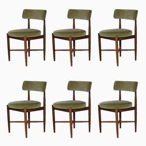 Esszimmerstühle aus Teak & Samt von Kofod Larsen für G-Plan, 6er Set