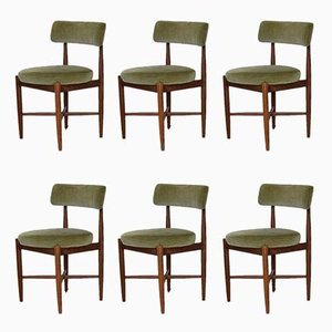 Teak & Velvet Dining Chairs by Kofod Larsen for G-Plan, Set of 6