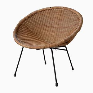 Chaise Ronde Vintage en Osier
