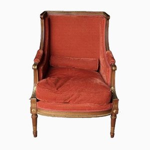 Louis XVI French Walnut Bergere Armchair, 1890s