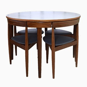 Danish Teak Roundette Dining Set with 4 Chairs by Hans Olsen for Frem Røjle, 1950s