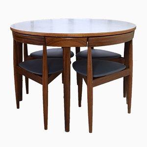Juego de comedor Roundette danés de teca con 4 sillas de Hans Olsen para Frem Røjle, años 50